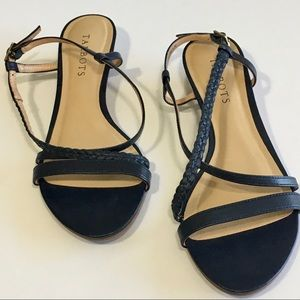 Talbots Womens Navy Blue Leather Wedge Sandal Shoe